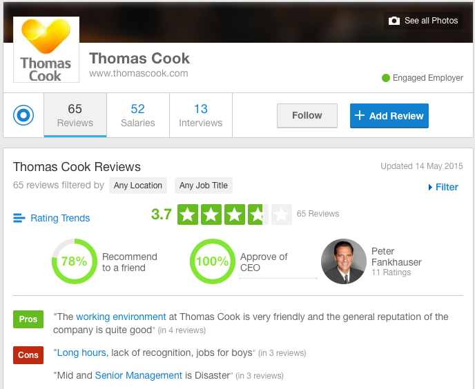 Thomas Cook Glassdoor
