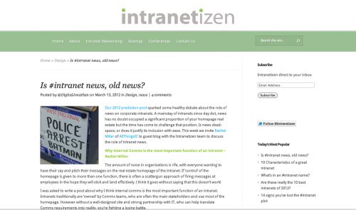 Is intranet news old news? | All Things IC
