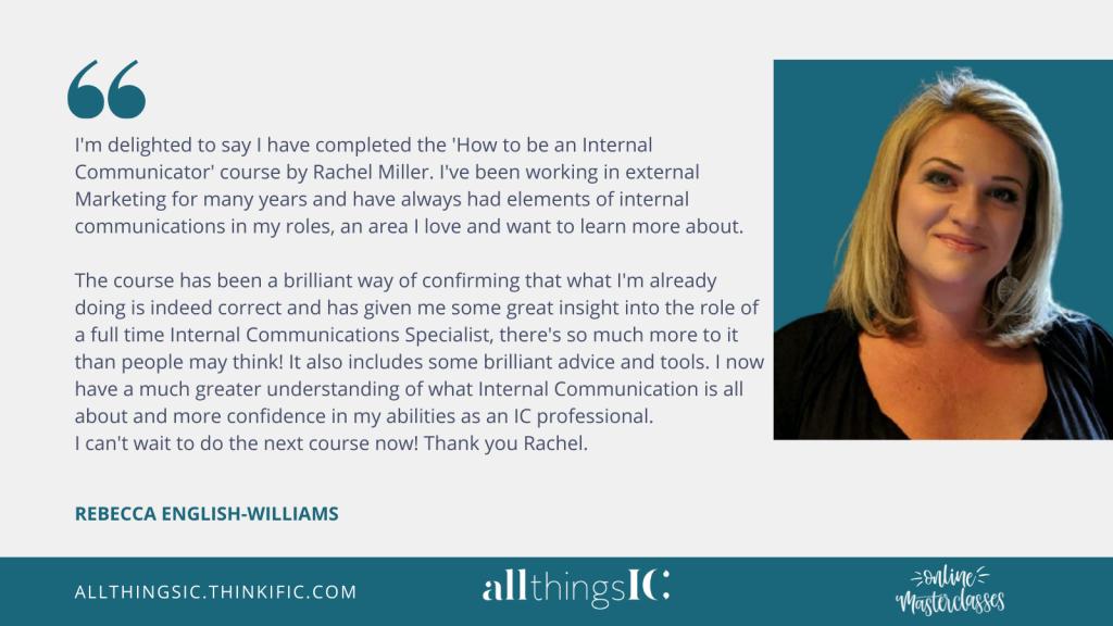 All Things IC Masterclass testimonial by Rebecca English-Williams
