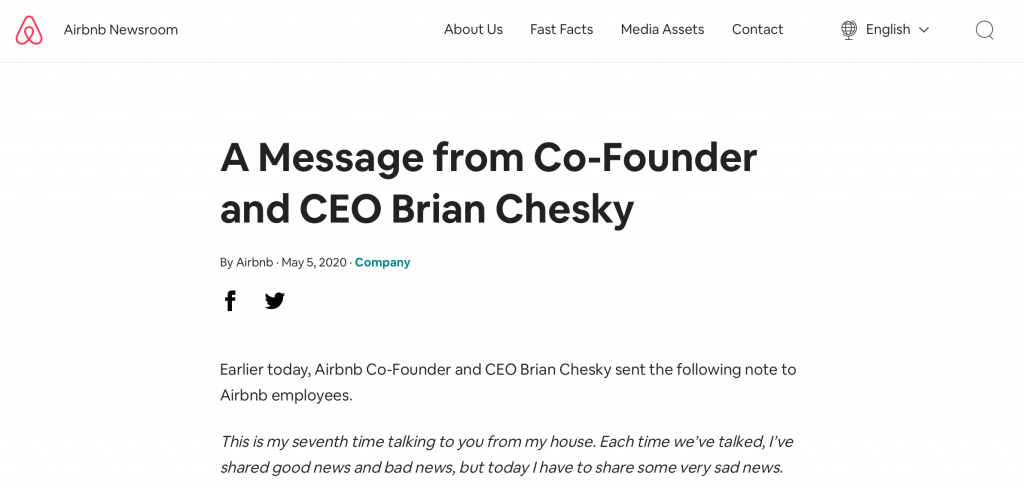 Airbnb Brian Chesky letter
