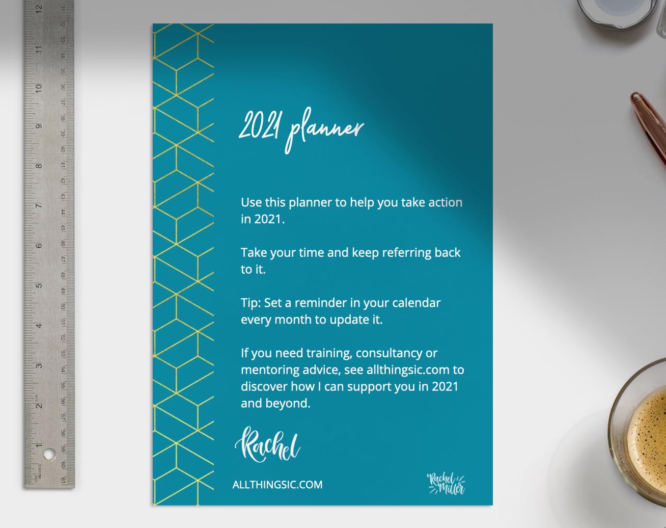 Free 2021 planner from Rachel Miller