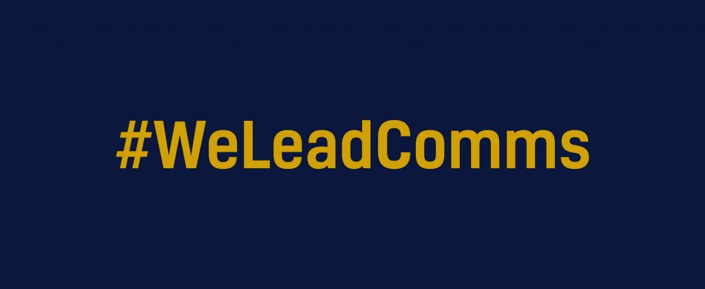 Image with the words We Lead Comms