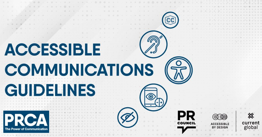Illustration stating accessibly communications guidelines and PRCA logo