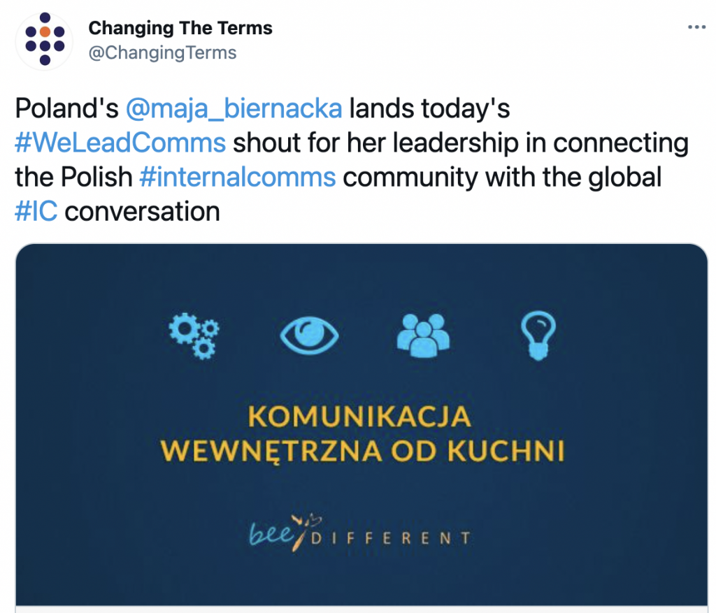 Image depicting a Tweet showing #WeLeadComms