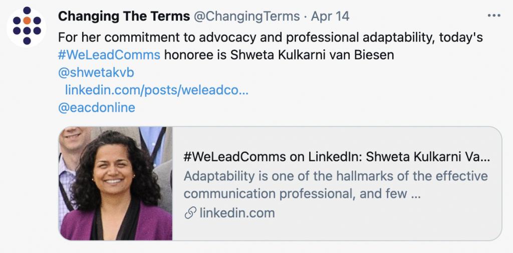 We Lead Comms highlighting Shweta Kulkarni van Biesen
