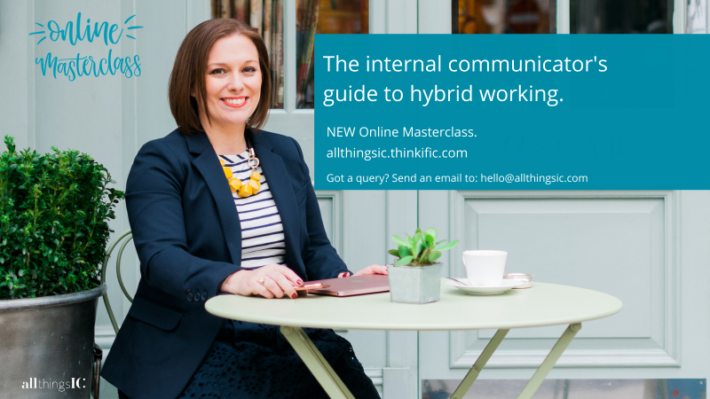 Image showing the course cover for the internal communicator's guide to hybrid working. Picture shows a woman sitting as a table.
