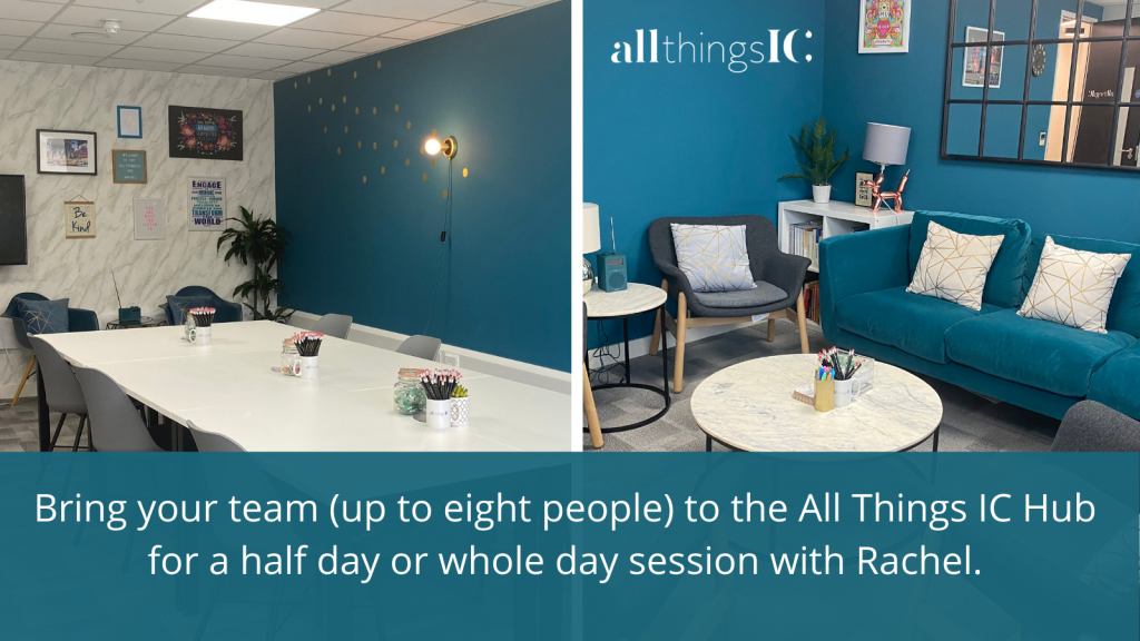 Bring your team to the AllThings IC Hub for a half day or whole day session with Rachel