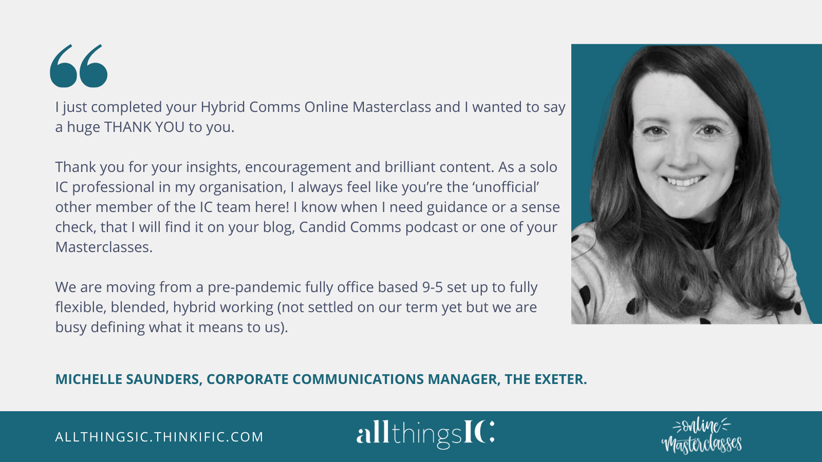 All Things IC testimonial Michelle Saunders