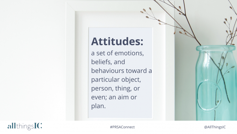 Attitudes: a set of emotions, beliefs and behaviours toward a particular object, person, thing or even; an aim or plan